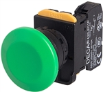 Deca A20B-A4E01G 22 mm Push Button, Mushroom Head, Green