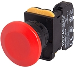Deca A20B-A4E02R 22 mm Push Button, Mushroom Head, Red