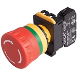 Deca A20B-V4E11R 22 mm E-Stop Switch, 1NO/1NC
