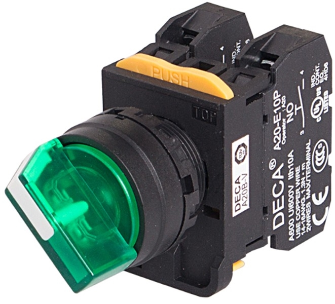 Deca A20F-2E01Q4G 22 mm Maintained Selector Switch, 2 Position, 1NC, on