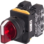 Deca A20F-3E02Q4R 22 mm Selector Switch, 3 Position, Red