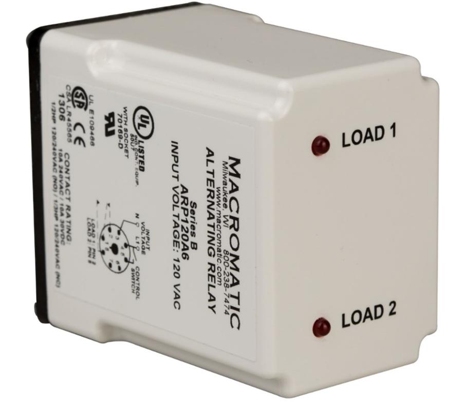 Macromatic ARP012A3 DPDT 12V Cross Wired Duplexor Alternating Relay, on