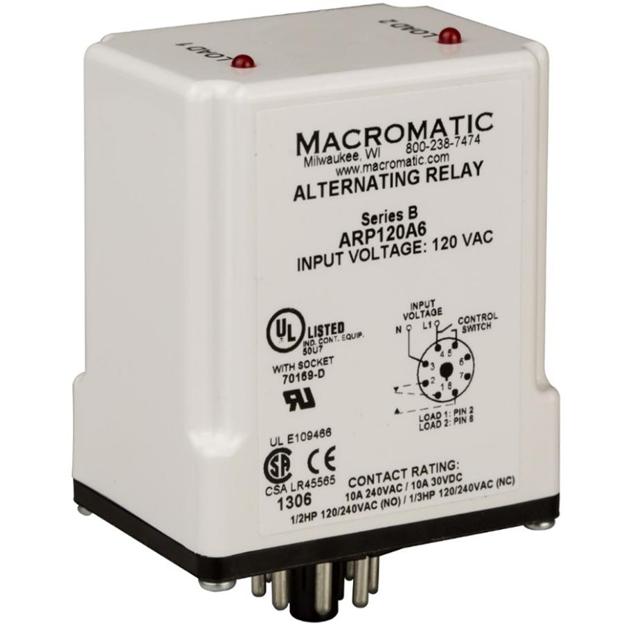 Macromatic ARP120A3 DPDT 120V Cross Wired Duplexor Alternating Relay, on