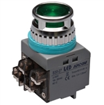 Kacon B30-27G-110VAC 30 mm Push Button, Green, 110V