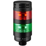 Qronz BTL70BK-AFRG-LN24 Red Green LED Tower Light, Lead Wire, 24V