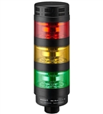 Qronz BTL70BK-AFRYG-LN24 Red Yellow Green LED Tower Light, Lead Wire, 24V