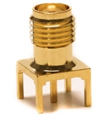 Mueller SMA Square Connector Jack, PCB, 50 Ohm, Gold Plated Brass