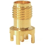 Mueller SMA Round Connector Jack, PCB, 50 Ohm, Gold Plated Brass, 0.49""