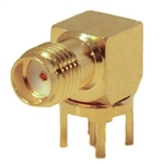 Mueller SMA Right Angle Connector Jack, PCB, 50 Ohm, Gold Plated Brass,