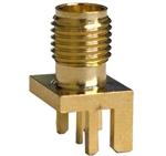 Mueller SMA Connector Jack, PCB Edge, 50 Ohm, Gold Plated Brass