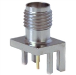 Mueller SMA Connector Jack, PCB Edge, 50 Ohm, Nickel Plated Brass