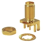 Mueller SMA Threaded Connector Jack, PCB Edge, 50 Ohm, Gold Plated Brass