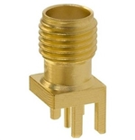 Mueller SMA Connector Jack, PCB Edge Mount, 50 Ohm, Gold Plated Brass, Round Contact