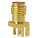 Mueller SMA Connector Jack, Edge Mount, 50 Ohm, Gold Plated Brass