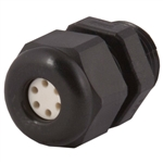 Black Plastic Multi-Hole Insert Cable Gland