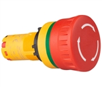 Deca CP2E-BVE01R 22 mm Push Button, Emergency Stop, 1NC, Pull/Turn Release