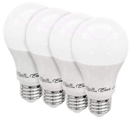 Euri Lighting 9W A19 LED Light, 6500K, 4 Pack