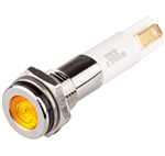 Menics LED Indicator, 8mm, Flat Head, 110VAC, Yellow