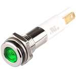 Menics LED Indicator, 8mm, Flat Head, 220VAC, Green