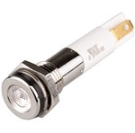 Menics LED Indicator, 8mm, Flat Head, 24VDC, White