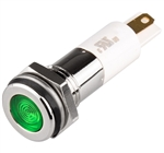 Menics LED Indicator, 10mm, Flat Head, 3VDC, Green