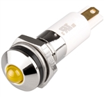 Menics LED Indicator, 10mm, Round Head, 220VAC, Yellow