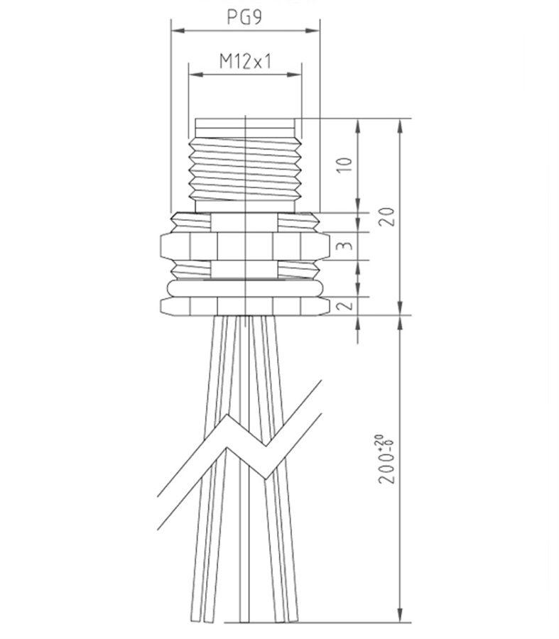 Htp M12 Panel Mount Connector Male 5 Pole Pg 9 200mm