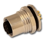 HTP 12FR8000-PG9 M12 Panel Mount Connector, Female, 8 Pole, PG 9