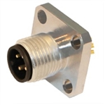 HTP 12MP4000-FL M12 Panel Mount Connector w/ Flange, Male, 4 Pole