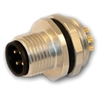HTP 12MP4000-PG9 M12 Panel Mount Connector, Male, 4 Pole, PG 9