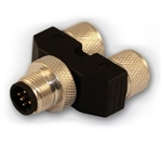 HTP M12 to M8 T Connector, 4 Pole Male to 3 Pole Female