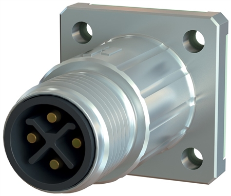 Sealcon M12 Connector, Male Panel Mount, 4 Pin, K & L Code