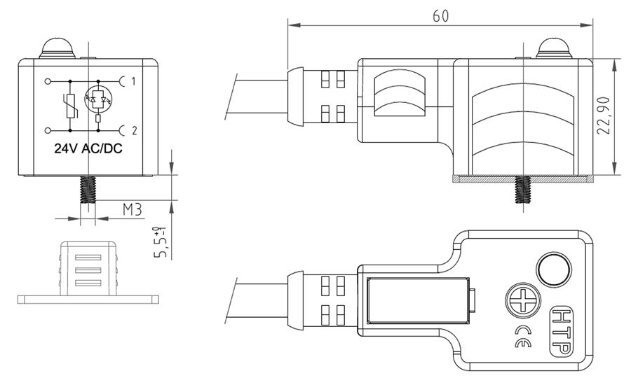 OM550ZRB2G3M 4?1411042442 htp din 43650 form a molded, 24v 3 meter din 43650 wiring diagram at webbmarketing.co