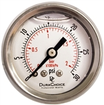 "DuraChoice PB158B-030 Oil Filled Pressure Gauge, 1-1/2"" Dial"