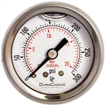 "DuraChoice PB158B-300 Oil Filled Pressure Gauge, 1-1/2"" Dial"