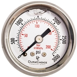 "DuraChoice PB158B-K03 Oil Filled Pressure Gauge, 1-1/2"" Dial"