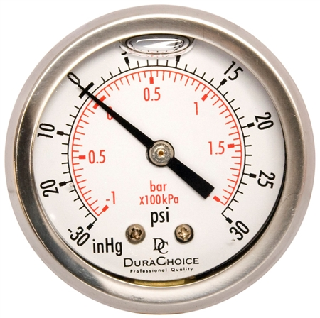 "DuraChoice PB158B-V30 Oil Filled Vacuum Gauge, 1-1/2"" Dial"