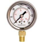 "DuraChoice PB158L-030 Oil Filled Pressure Gauge, 1-1/2"" Dial"