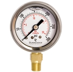 "DuraChoice PB158L-300 Oil Filled Pressure Gauge, 1-1/2"" Dial"