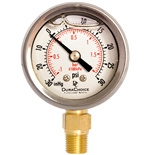 "DuraChoice PB158L-V30 Oil Filled Vacuum Gauge, 1-1/2"" Dial"
