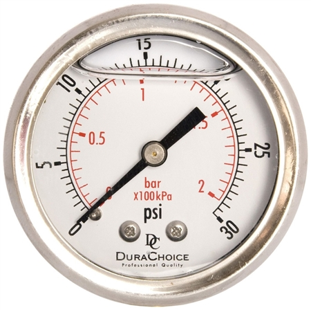 "DuraChoice PB204B-030 Oil Filled Pressure Gauge, 2"" Dial"