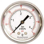 "DuraChoice PB204B-060 Oil Filled Pressure Gauge, 2"" Dial"