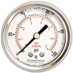 "DuraChoice PB204B-100 Oil Filled Pressure Gauge, 2"" Dial"