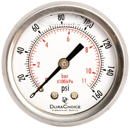 "DuraChoice PB204B-160 Oil Filled Pressure Gauge, 2"" Dial"