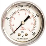 "DuraChoice PB204B-200 Oil Filled Pressure Gauge, 2"" Dial"