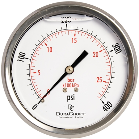 "DuraChoice PB404B-400 Oil Filled Pressure Gauge, 4"" Dial"
