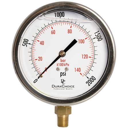 "DuraChoice PB404L-K02 Oil Filled Pressure Gauge, 4"" Dial"