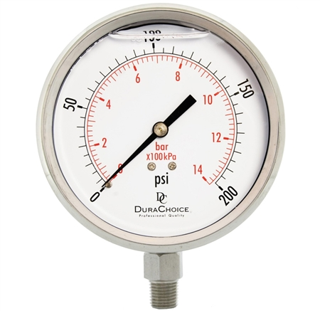"DuraChoice PS404L-200 Oil Filled Pressure Gauge, 4"" Dial"