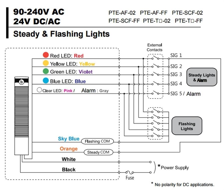 menics pte-af-202-ry-b 2 stack led tower light, pole mount ... keh 2600 speaker wiring diagram werma signaltechnik wiring diagram