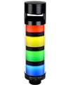Qronz 4 Stack LED Tower Light, Red Yellow Green Blue, Quick Disconnect, 12V, w/ Adjustable Alarm